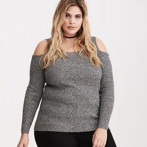 NWOT Torrid marled knit cold shoulder sweater sz 2